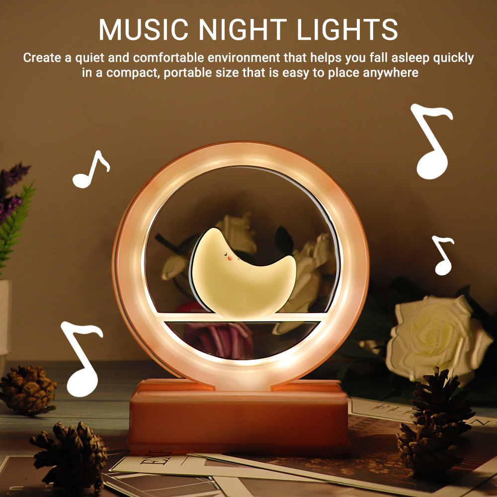 New Musical Night Lamp Cute Design Moon LED Light Baby Music Table Lamps Creative Sleepping Decorate Desk Light Gifts for Baby image