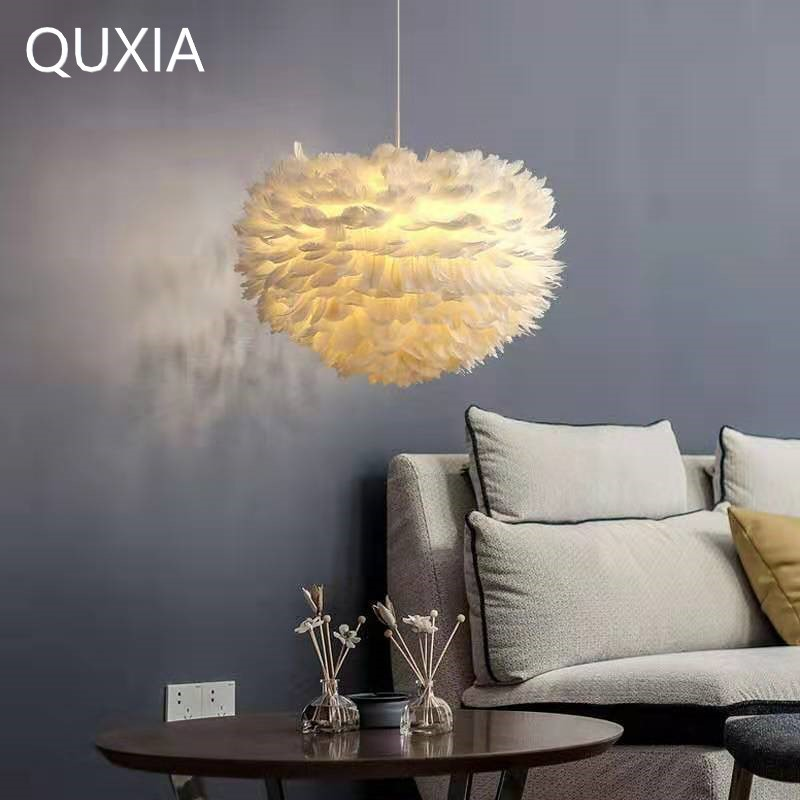 Creative Nordic Feather Chandelier Led E27 Livingroom Bedroom Wedding Children's Room Restauran Clothing Store Pendant Lights