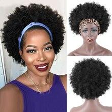 Peluca con diadema Afro para mujeres negras, pelo corto rizado, sin pegamento, con diademas, uso diario