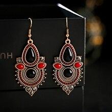 Pendientes étnicos bohemios de gota de agua para mujer, pendientes Vintage rojos y negros, pendientes Gypsy Jhumka, perchas de Oorbellen