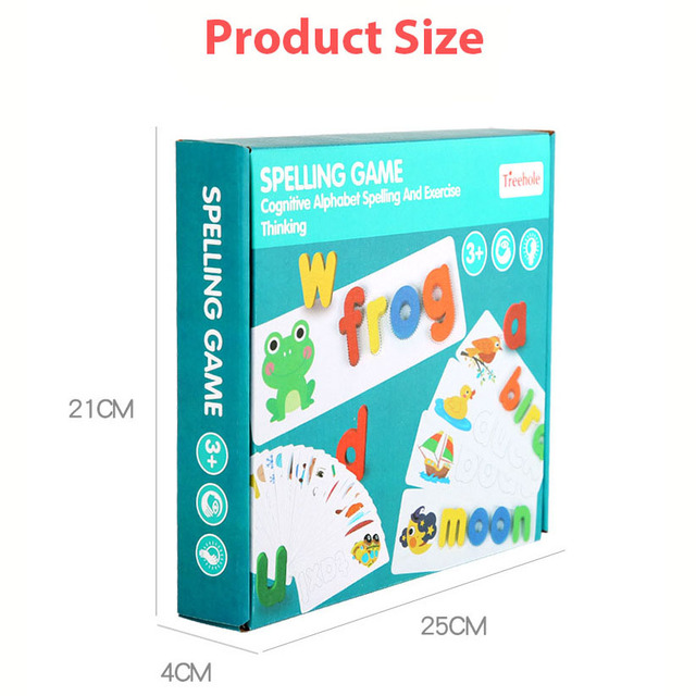 New 3D Jigsaw Word Puzzle Game 26pcs English Letters Early Learning Cognitive Wooden Puzzles Kids Educational Toys for Children