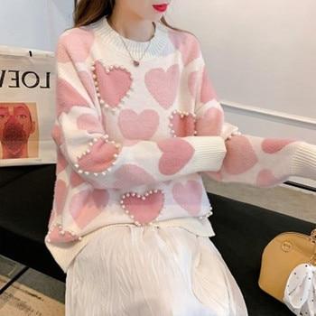 цена на 2020 Korean Autumn New Women Crew Neck Sweater Elegant Heart Line Pattern Setting Beads High Quality Loose Knitting