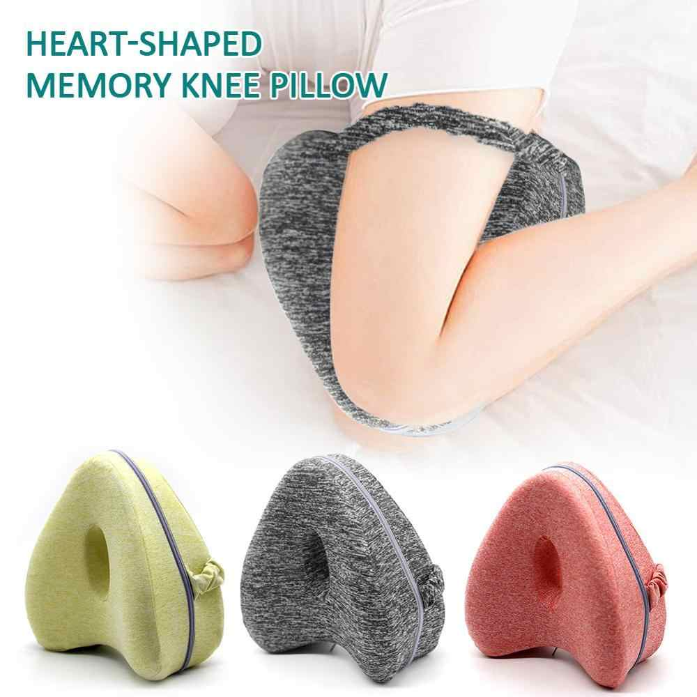 Leg Pillow Heart-shaped Pillow Memory Knee Pillow With Washable Cover For Relief Back Hips Knees Pain filling Memory Cutton