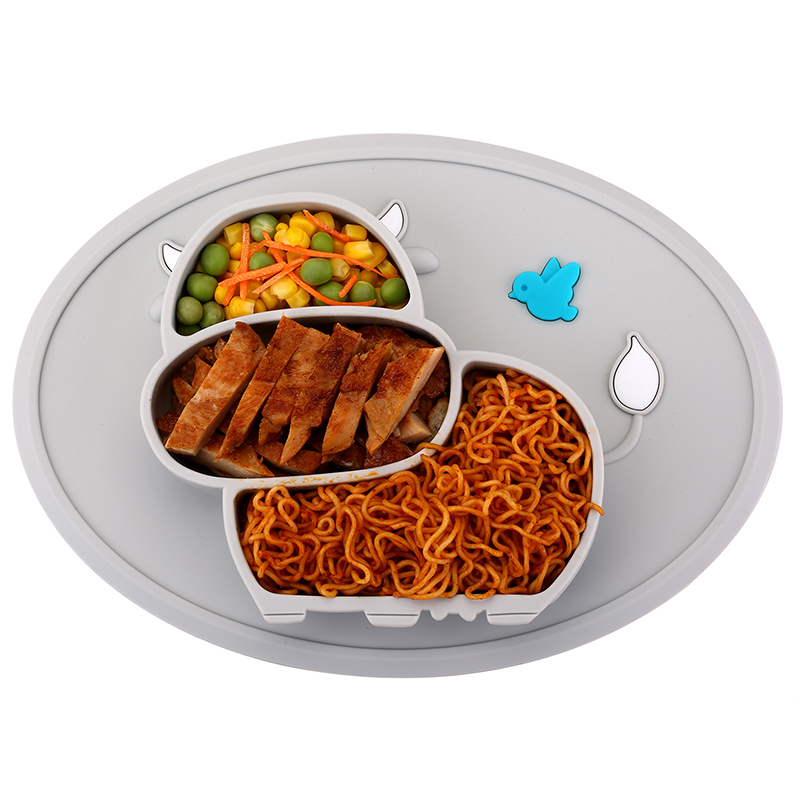 Qshare Baby Silicone Tableware Children Food Feeding Container Placemat Infant Feeding Cup Baby Dishes Suction Bowl Kids Plate