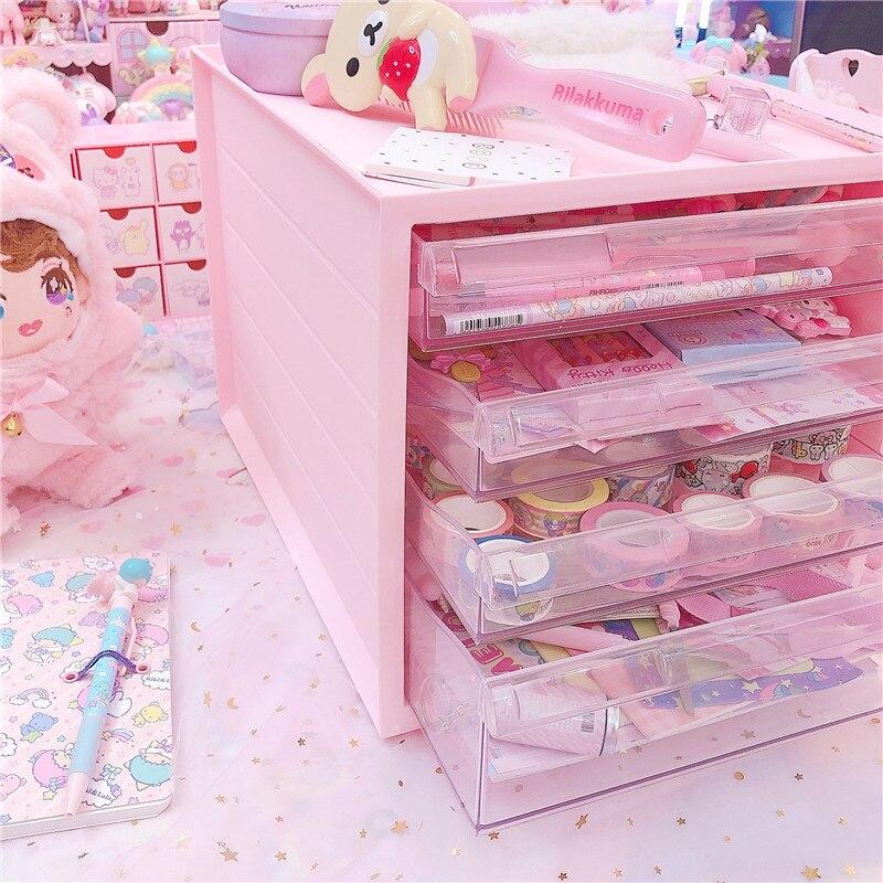 Pink Cute Storage Cabinet Household Durable Plastic Multifunction Dustproof Desktop Drawer Object Storage Box