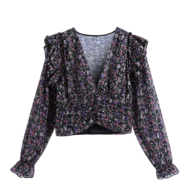 Women Sweet Agaric Lace V Neck Floral Print Short Blouse Female Long Sleeve Ruffles Shirts Chic Femme Blusas Tops 1