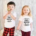 Я собираюсь быть старшим братом/сестрой 2021, Детские футболки для мальчиков и девочек, рубашки для братьев и сестер, семейный вид, Прямая пост...