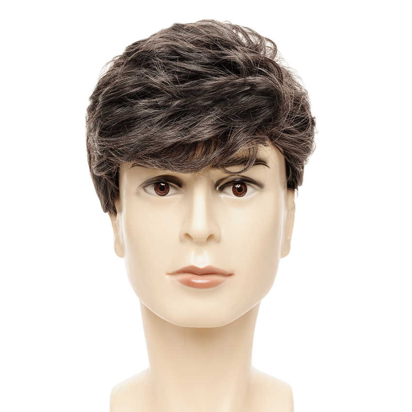 Short Male Wigs for Business Man Curly Wig Mixed Color Side Part Male Synthetic Hair Heat Resistant Fiber