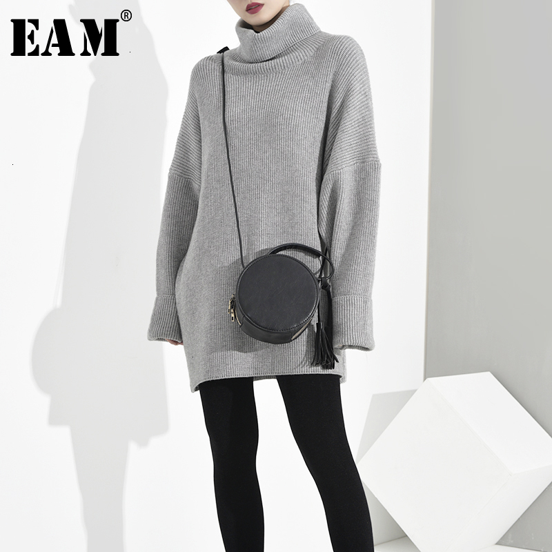 [EAM] Oversized Knitting Sweater Loose Fit High Collar Long Sleeve Women Pullovers New Fashion Tide Spring Autumn 2020 JA9500