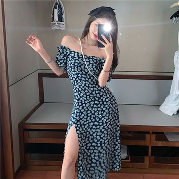 Sexy word shoulder split dress slim high waist dress mid-length small daisy floral street fashion party dress pocket open shoulder split full length dress