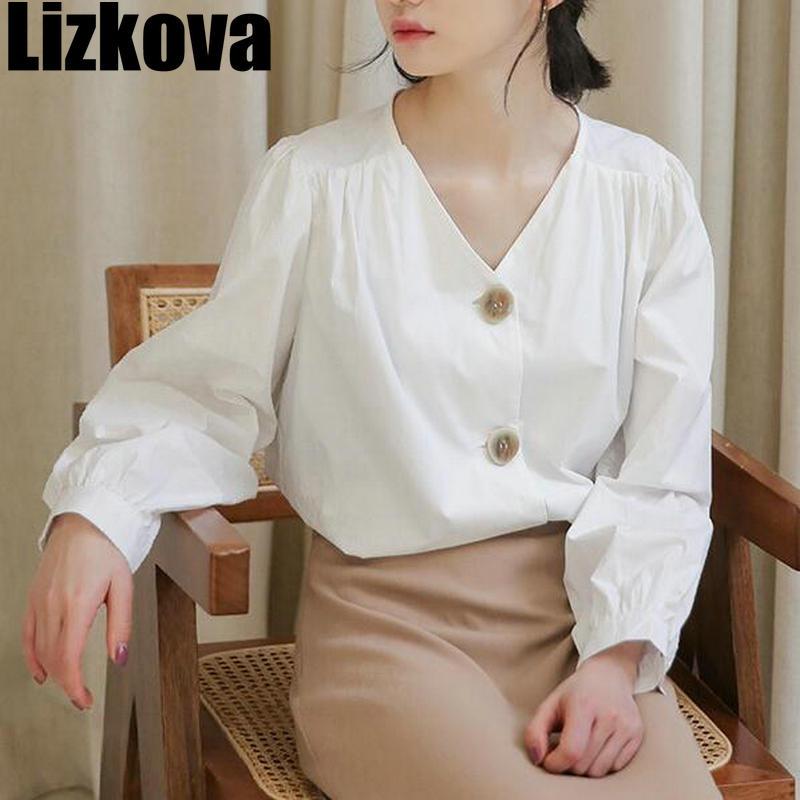 Fall 2019 Women White Blouse Vintage Casual Shirt V-neck Lantern Sleeve Shirt Ruffle Design