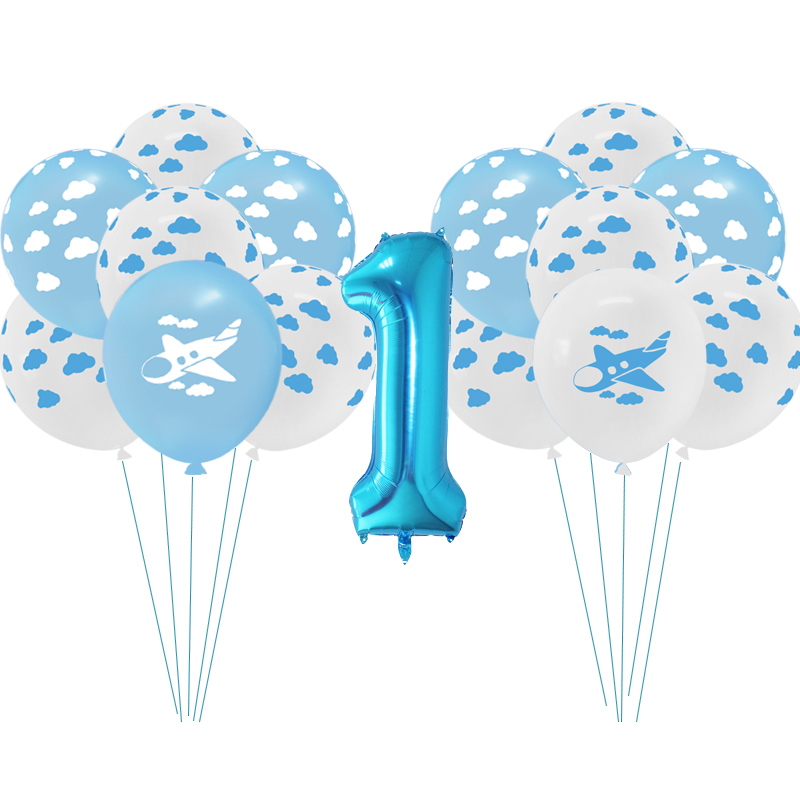 15/10pcs 12 Blue White Cloud Balloons Cartoon Plane Latex Balloon For Boy Airplane Theme Birthday Party Decor Number Air Globos image