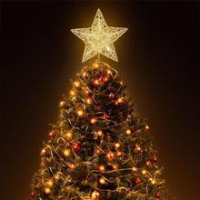 NICEXMAS Рождественская елка светодиодный Звезда верхушка дерева декоративный предмет со светодиодной подсветкой на батарейках Рождественский троечник Золотой Рождественский домашний магазин A2