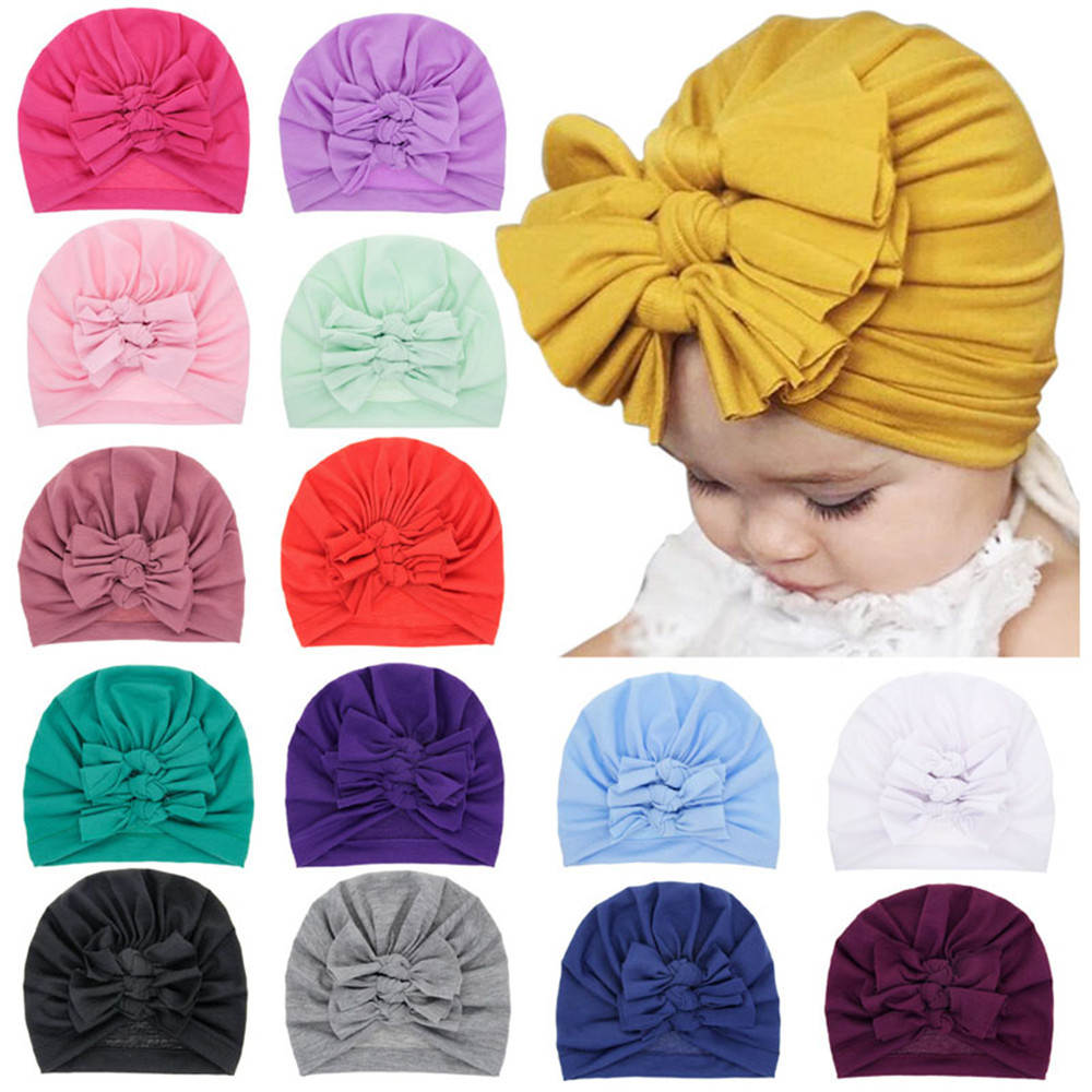 Lovely Soft Winter Newborn Cap Solid Color Cotton Thick Hat Fashion Bows Winter Warm Baby Hat Winter Hairball Cap