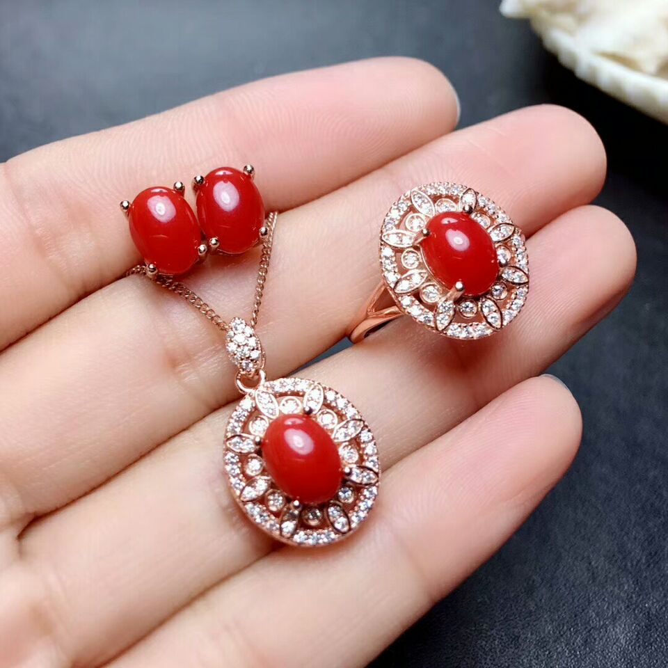 Natural Coral Gemstone Earring