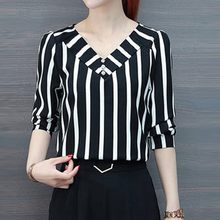 Fashion Striped Office Blouse Simple Casual Summer Ladies Buttons Sexy V-Neck Tunic Tops Female Women 3/4 Sleeve Shirt Blusas(China)