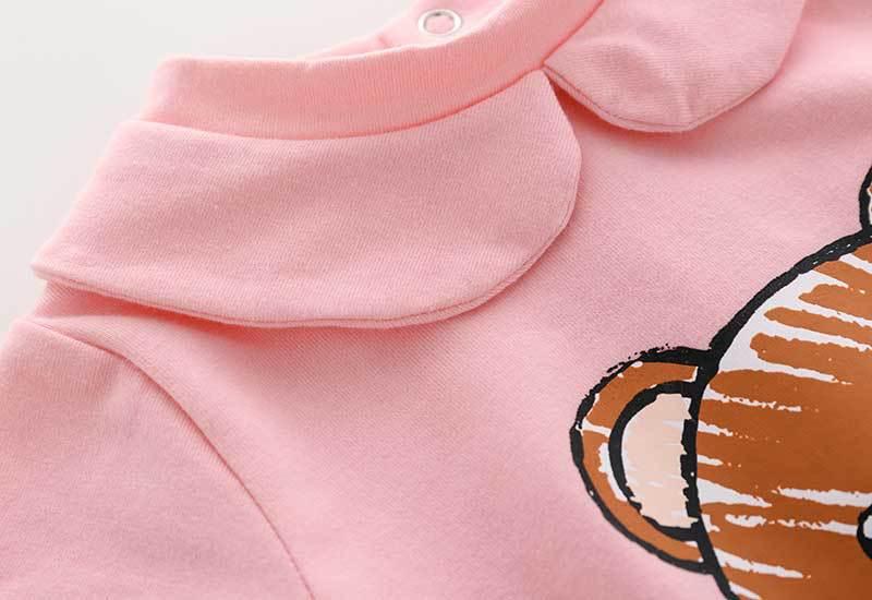 Новинка; Сезон лето; Модные милые Новорожденные, одежда в стиле унисекс, одежда с короткими рукавами, хлопковая одежда с принтом в виде маленького с принтом «Медвежонок» BB новорожденного Для мальчиков и девочек Комбинезон 4