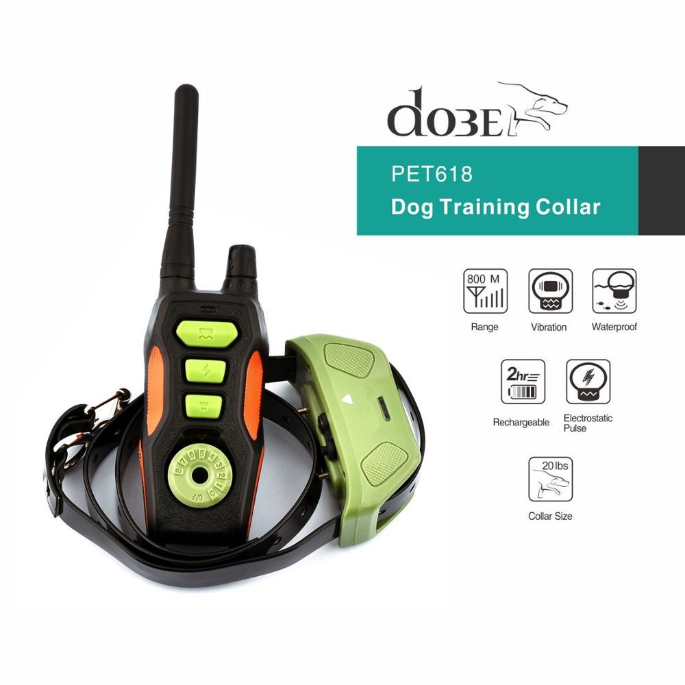 الكلب التدريب عن بعد طوق الحيوانات الأليفة قابلة للشحن للماء الكلب النباح حلقة التحكم الكهربائية التدريب صدمة طوق مع 800 مجموعة-في أطواق التدريب من المنزل والحديقة على  مجموعة 1