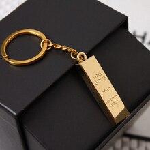 1Pcs Metal Faux Ingot Bullion Gold Bar Golden Brick Keychain Creative Keyring Keyfob Gift Free Shipping
