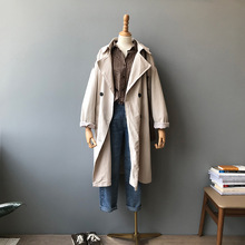 Autumn long coat Korean version of the wild loose trench coat solid color lapel