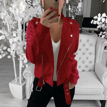 New Autumn Short Jaqueta Feminina Inclined Zipper Moto Women Jackets Casual Sashes Biker Chaquetas Mujer 2019 Slim Cropped Coats(China)