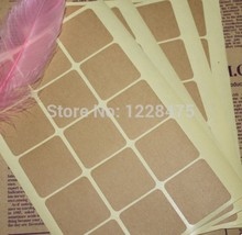 150pcs/pack Square Leather Color Blank Sticker DIY Hand Made For Gift Cake Baking Sealing Hang Tag