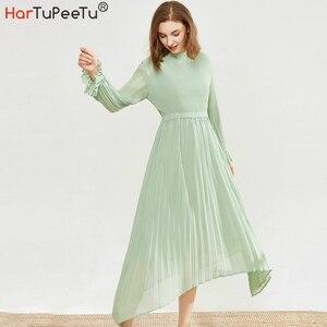 Женское длинное платье-туника, элегантное плиссированное платье с длинным рукавом и драпировкой, зеленое асимметричное платье-водолазка 1/2...