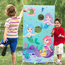 Sereia jogar jogos com 3 sacos de feijão carnaval festa de aniversário sereia jogo para oceano tema festa se divertir para crianças