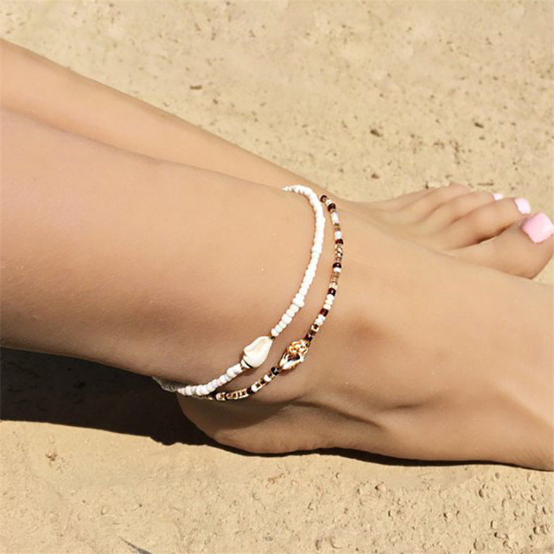 Boho Shell Conch Rope Anklets For Women Delicate Shell Charm Anklet Beach Barefoot Bracelet ankle Leg Chain Foot Anklets Jewelry