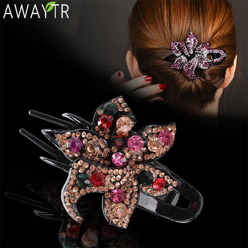 AWAYTR Fashion Colorful Flower Crystal Hair Claw Rhinestone Hairpin Hollow Heart Hair Clip Barrette Women Clips Hair Accessories