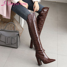 High-Boots Heel Toe-Block Over-The-Knee Pointed Women Lasyarrow for Sexy New