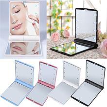 Feminino dobrável maquiagem espelhos ferramenta lady cosméticos mão dobrável portátil bolso compacto espelho 8 luzes led lâmpadas dropshipping