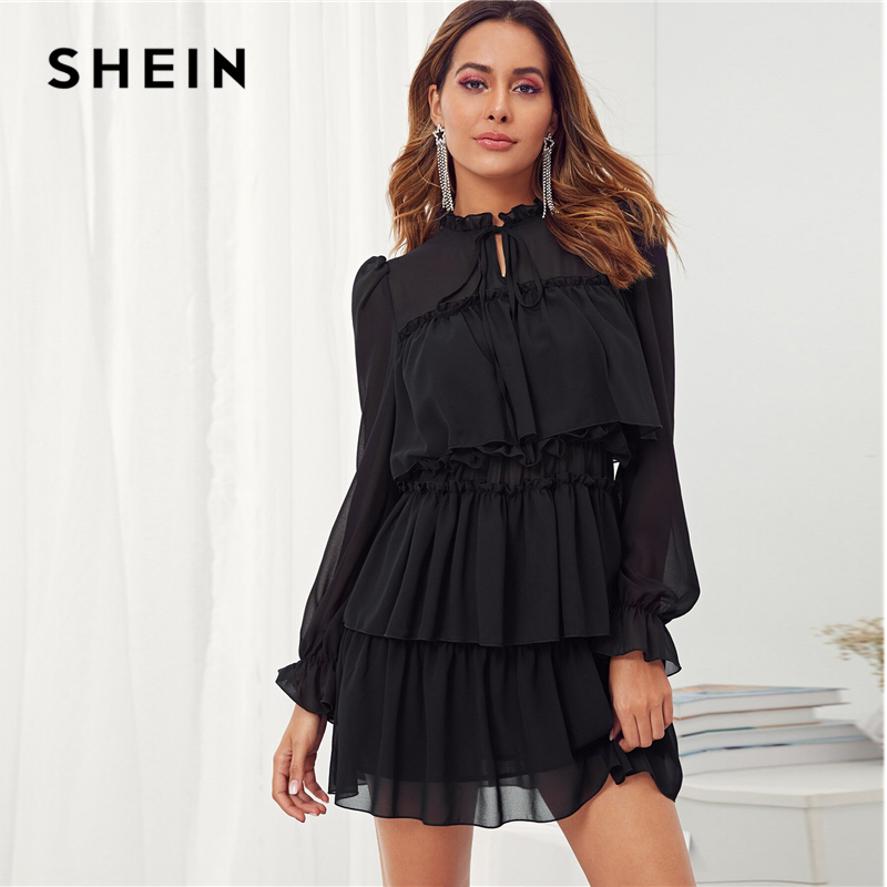 Shein Black Frill Tie Neck Party Dress Women's Dresses Women's Shein Collection