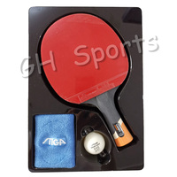 STIGA 6 Star Carbon (Ship in Original Box) Table Tennis Racket (6 Star Level, Gift Set) with Rubber + Wristband + Ball Set