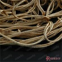 Ширина 2 мм Темно-Золотые полиэфирные шнуры Пряжка Веревка Diy ювелирных изделий Аксессуары 50 метров(JM7805