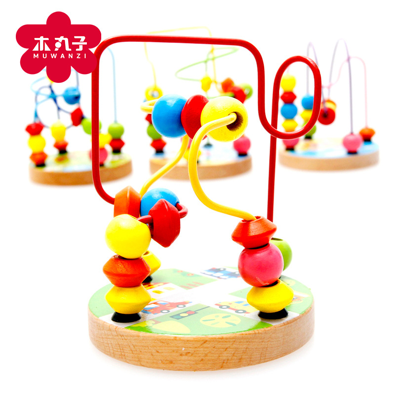 Wooden Mini Small Bead-stringing Toy Beaded Bracelet Bead-stringing Toy Building Blocks Toy Children Early Childhood Educational