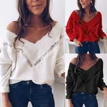 2019 Sexy Low Cut Lace Patchwork White Long Sleve Women Blouse Tops and Fall
