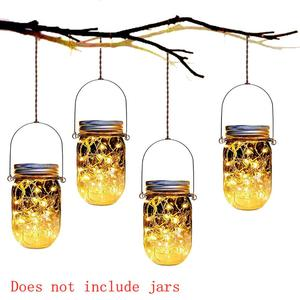 Image 3 - 8 Pack Solar Mason Jar Lights with 8 Handles,10 Led String Fairy Firefly Lights Lids Insert for Regular Mouth Jars Garden decor