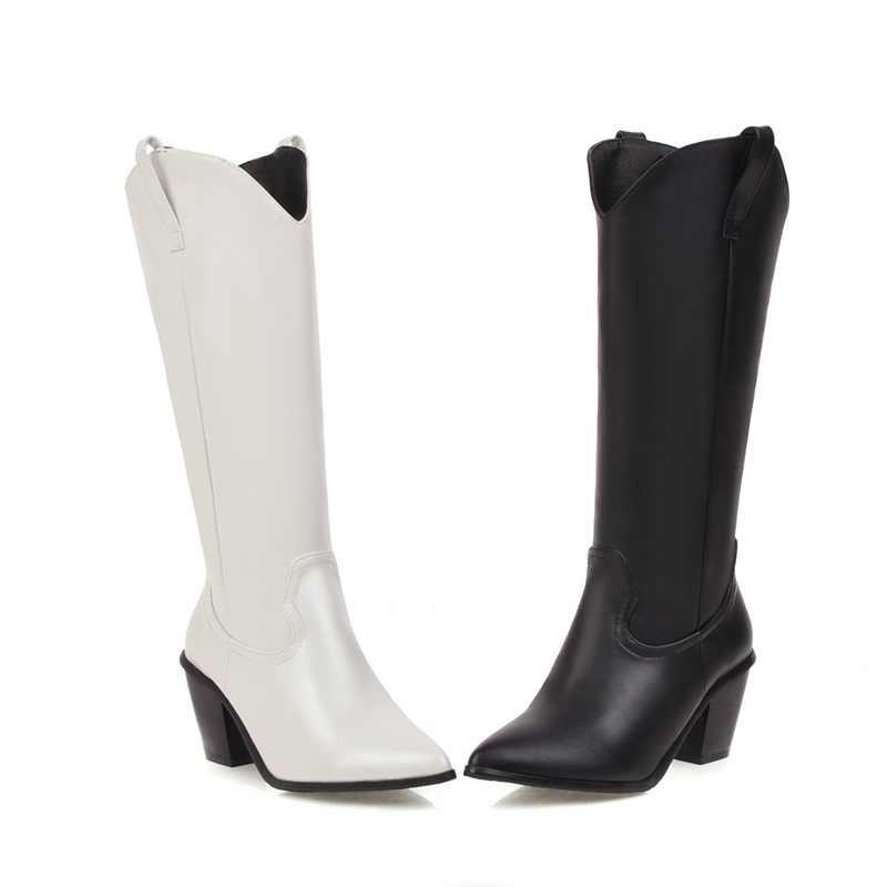 EGONERY kühle frau western stiefel 7cm high heels frauen schuhe spitz mid-kalb stiefel weiß schwarz motorrad stiefel 33-45CN