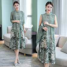 plus 2020 size silk dress for woman clothes print floral vintage party dress elegent greeen woman vestidos YY037(China)