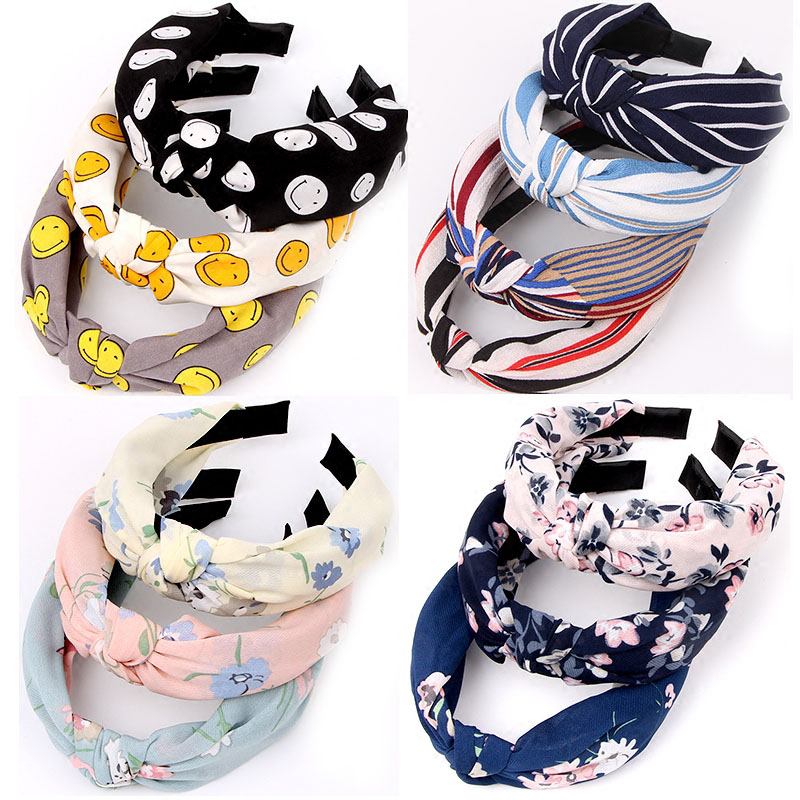 New Cloth Fashion Wide Headband Floral Dot Bowknot Girl Cross Knotting Stripe Solid Sweet Women Hair Accessories