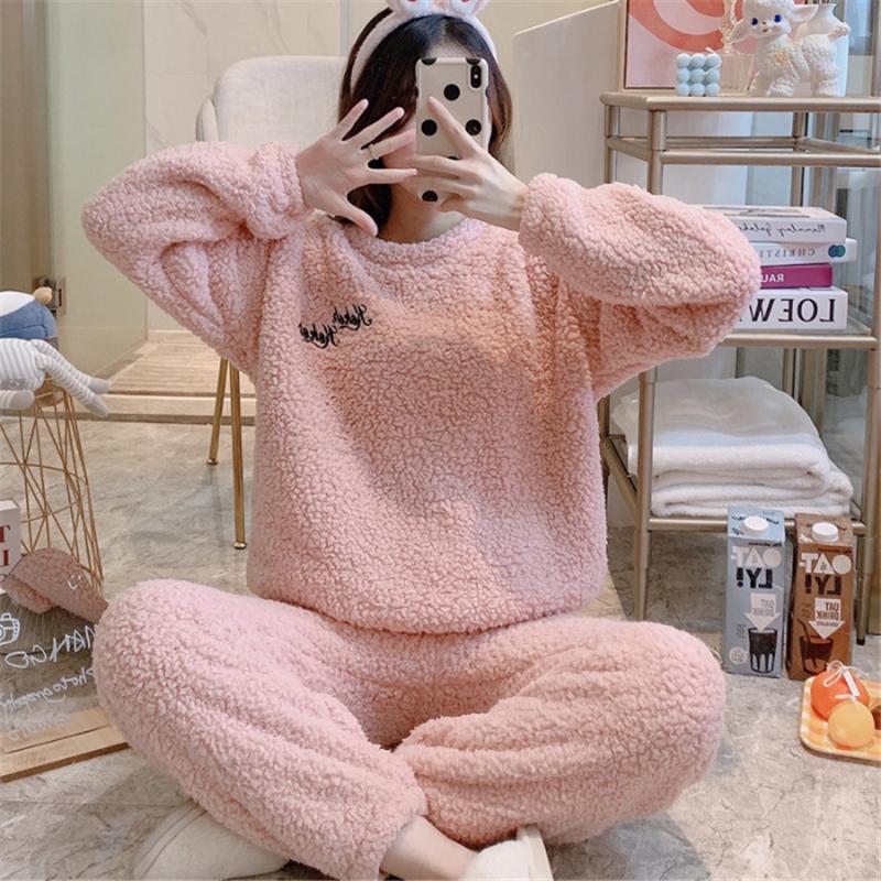 Женские милые пижамы чистого цвета на осень и зиму женский теплый