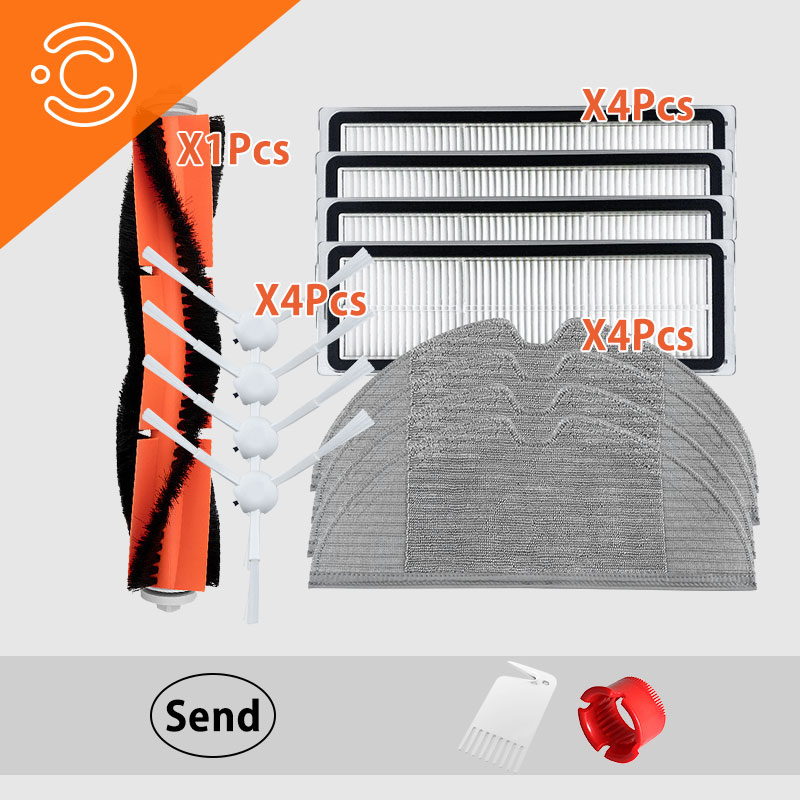 15PCS Robot Vacuum Cleaner Side Brush Main Brush Mop Hepa Filter For Xiaomi Mijia 1c Vacuum Cleaner Parts Accessories Set