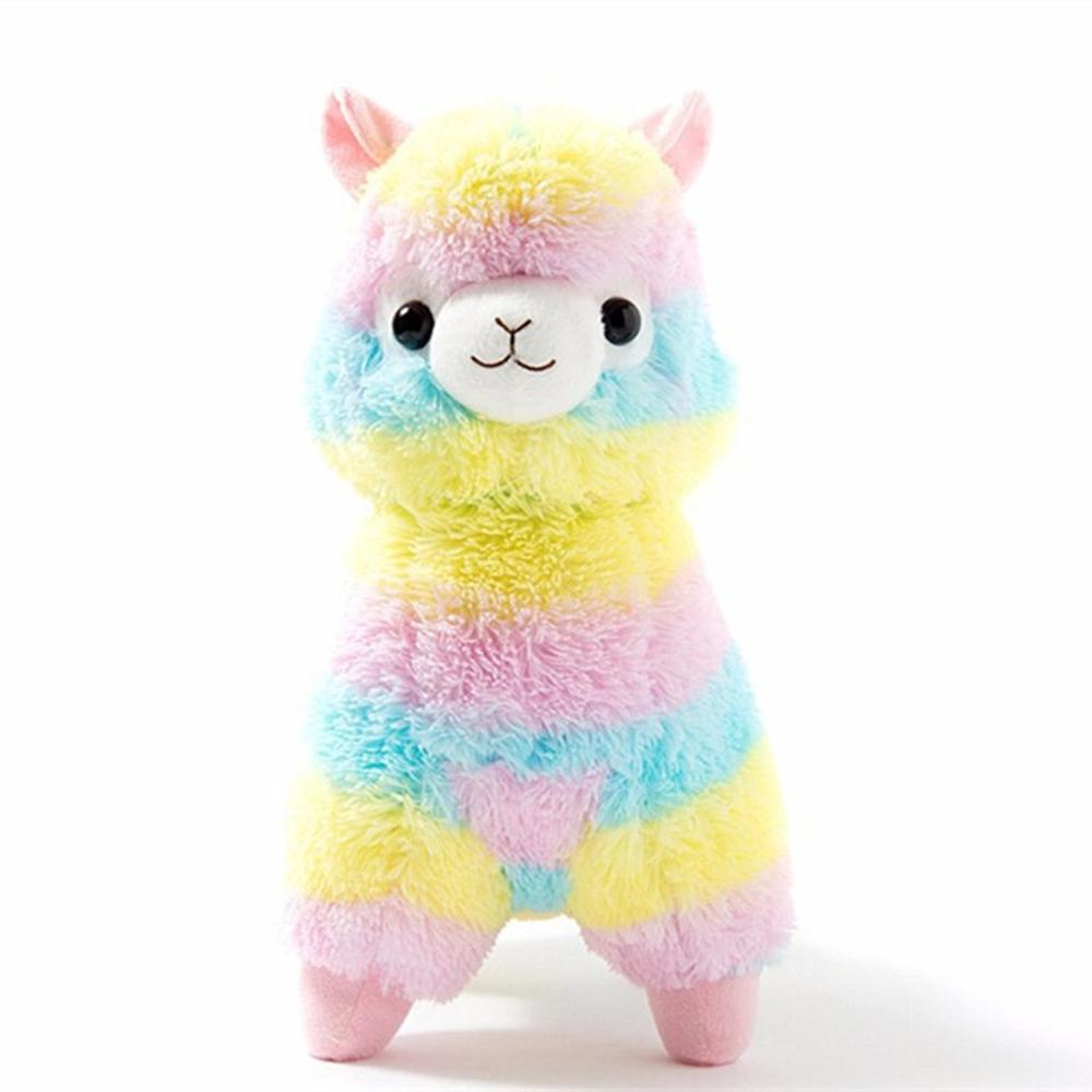 Rainbow Alpaca Plush Sheep Toy Japanese Soft Alpacasso Stuffed Animals Lovely Present For Girls Kids