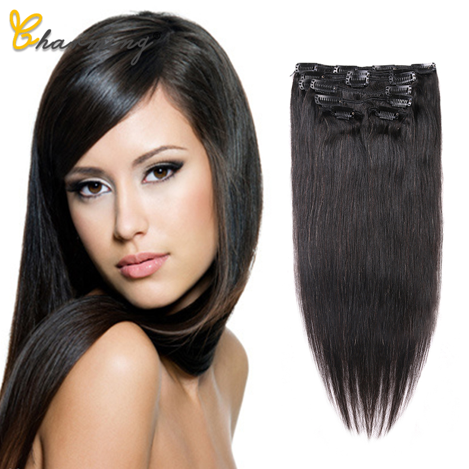 CHARMING Clip In Human Hair Extensions Brazilian Hair Clip In Extension Natural Color Straight Human Hair 8 Pcs 120g
