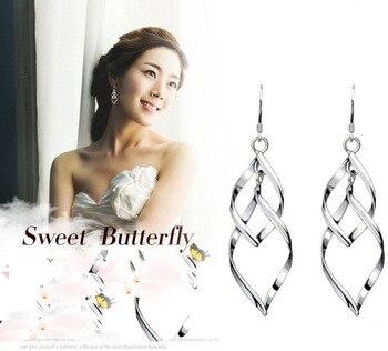 punk rotate leaves long earrings with stamp pendientes aretes  silver color jewelry Tassel Earrings cute boucle oorbellen 2