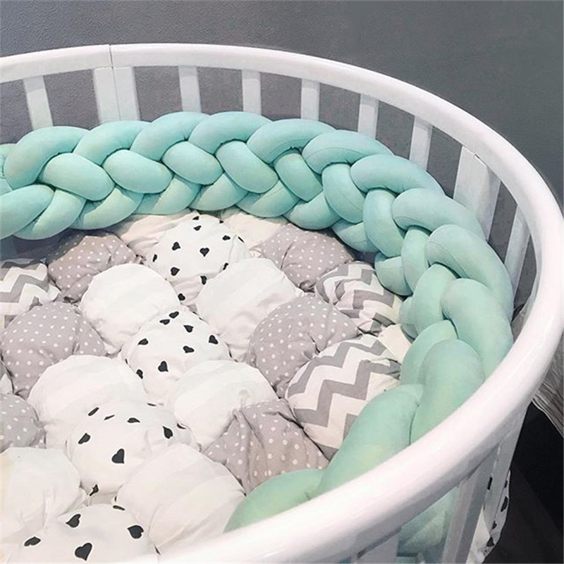 4 Ply Braid Knot Design Baby Bed Bumper Customized 2M/3M Newborn Crib Pad Protection Cot Bumpers Bedding Accessories Crib Sides