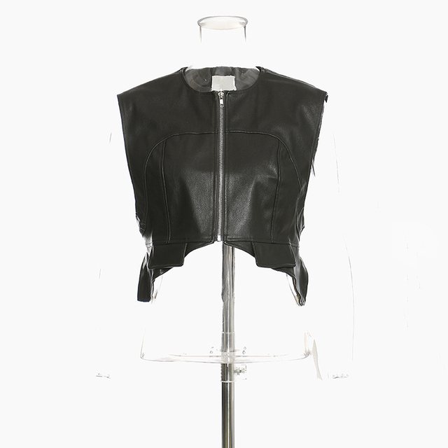[EAM] Women Loose Fit Irregular Pu Leather  Zipper Vest New Round Neck Sleeveless Fashion Tide Spring Autumn 2021 1DD0726 3