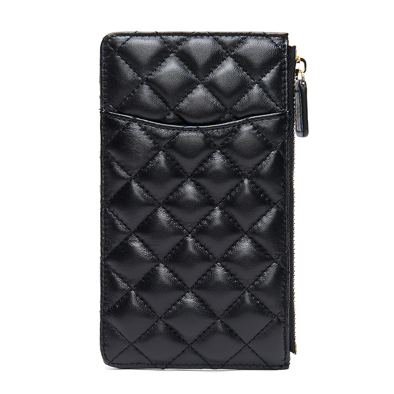 Women Genuine Leather Cellphone Wallet Lady Mobile Case Credit Card Holder Zip Coin Simple Elegant Case Fashion Clutch Female