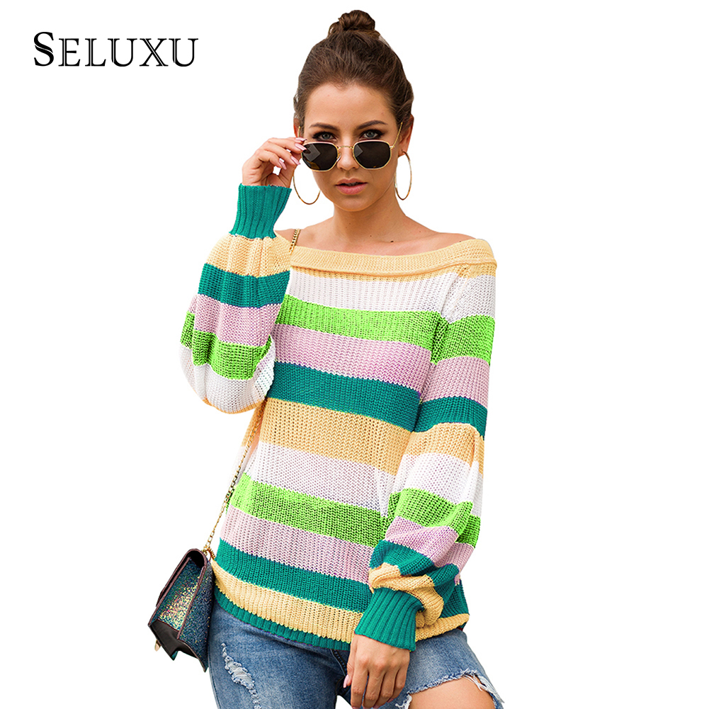 Seluxu 2019 New Autumn Women Sweater Slash Neck Patchwork Color Tops Long Sleeve